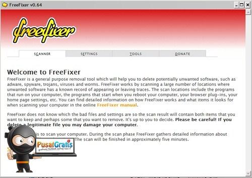 Menyingkirkan Malware dan program Mencurigakan Lainnya dengan FreeFixer