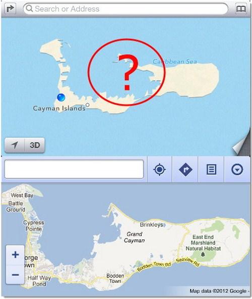 """Grand Cayman di Pulau Cayman hilang beberapa bagian, seperti habis """"dimakan"""" seseorang."""