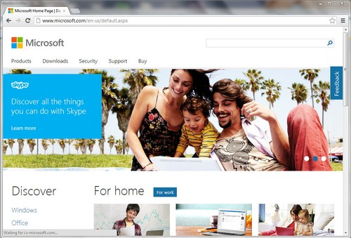 Modern UI Situs Microsoft Dilihat dari Google Chrome