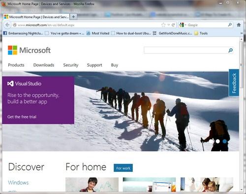 Modern UI Situs Microsoft Dilihat dari Firefox