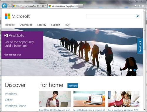 Modern UI Situs Microsoft Dilihat dari IE 9