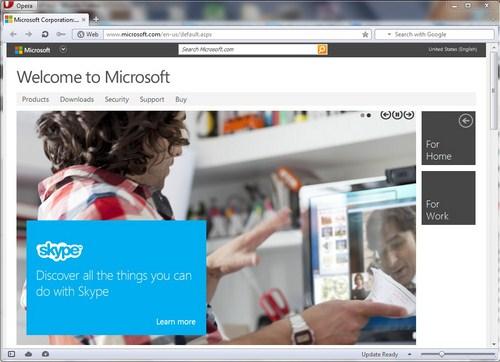 Modern UI Situs Microsoft Dilihat dari Opera