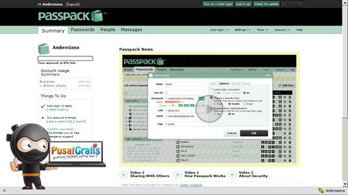 Manajemen Password Akun Online Menggunakan PassPack!