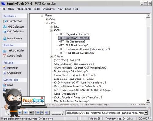 Mengorganisir file Multimedia dengan Sundry Tools XV