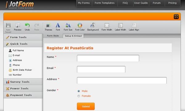 Mudah dan Cepat Membuat Form HTML Secara Online