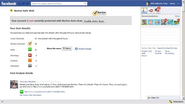 Mendeteksi Link yang mencurigakan di Facebook dengan Norton Safe Web