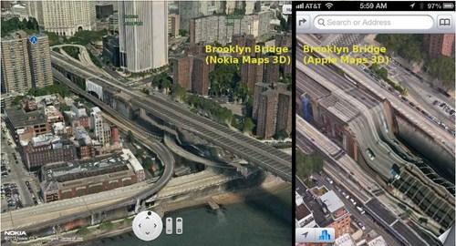 Jembatan Brooklyn dilihat dari Nokia Maps (Kiri) dan Apple Maps (Kanan). Tahu bedanya nggak? :D