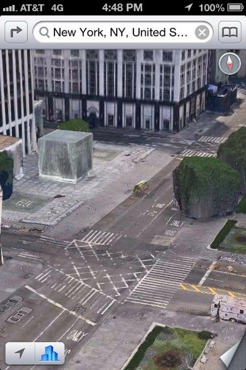 Banyak mobil dan gedung di New York tampak seperti fosil yang terkubur di jalan raya.