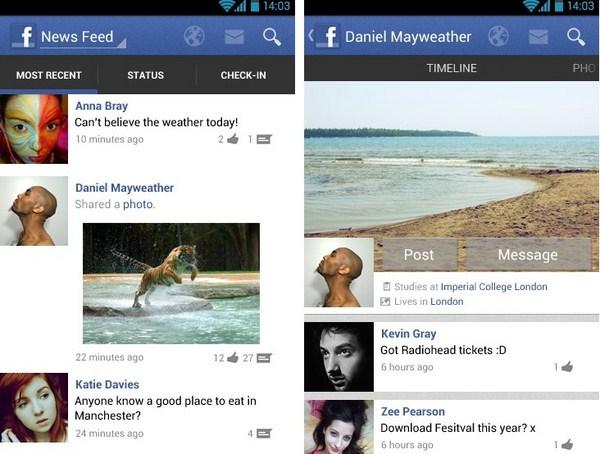 Konsep Aplikasi Facebook untuk Android oleh Redmond Pie