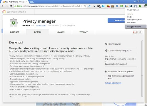 Memanage Ekstensi Chrome dengan Privacy Manager