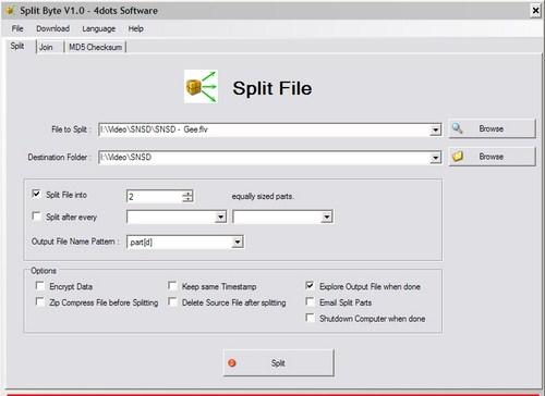 Memisahkan dan Menggabungkan File Multimedia dengan SplitByte