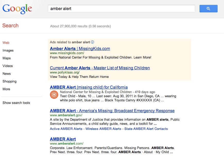 AMBER Alerts : Informasi Anak Hilang Lewat Mesin Pencari Google