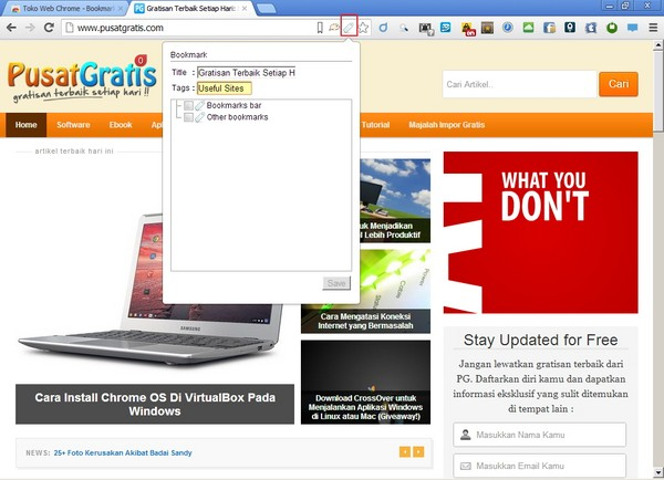 Bookmark#, Mengatur Bookmark Kamu di Google Chrome