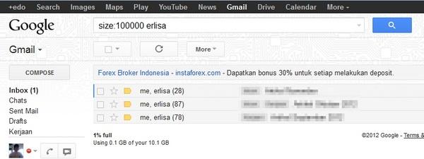 Sortir Email di Gmail Berdasarkan Ukuran File