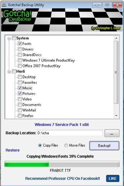 Backup Folder User Pada Windows Menggunakan Gotcha Backup Utility