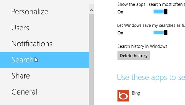 Cara Delete atau Disable History pada Search Charm Bar di Windows 8