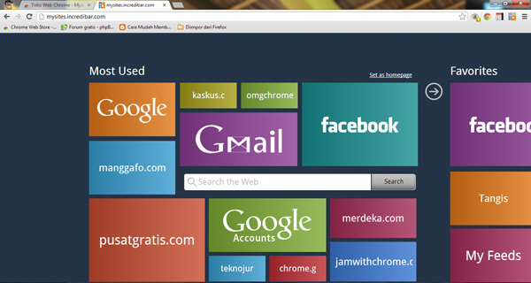 Dapatkan Tampilan Metro UI untuk Start Page Chrome dengan MySites