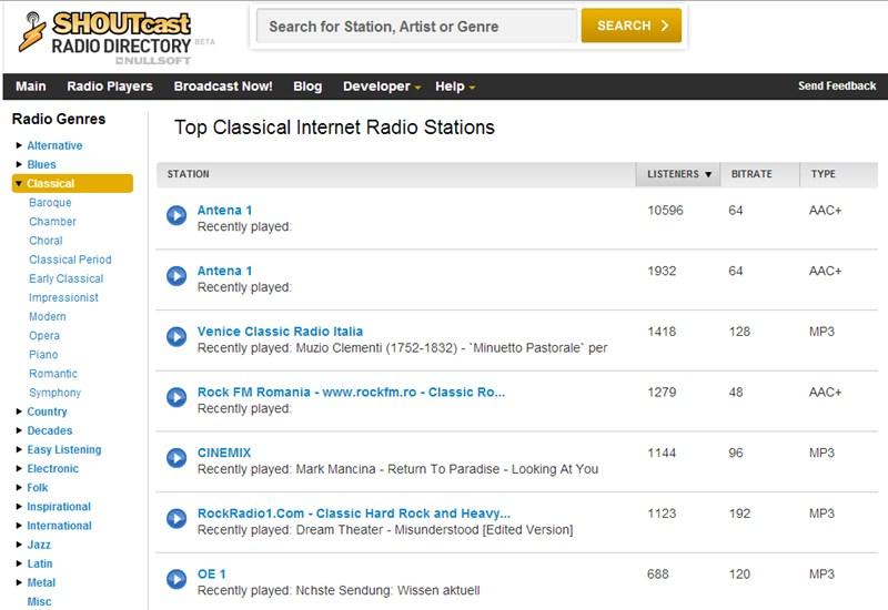 Shoutcast Mendengarkan Musik Klasik Secara Online