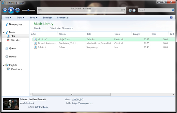 Stoffi : Media Player Gratis dengan Tampilan Windows Explorer