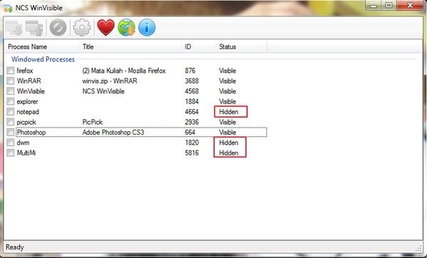 Cara Menghilangkan Program di Taskbar dengan NCS WinVisible