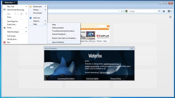 WaterFox: Browser Berbasis Firefox untuk Windows 64-bit