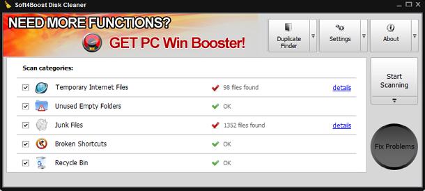 Membuat Windows Menjadi Bersih Dan Cepat dengan Soft4Boost Disk Cleaner