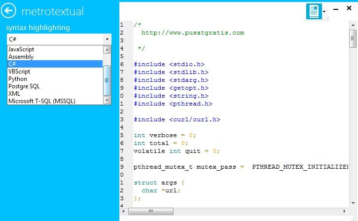 MetroTextual : Text Editor dengan Tampilan Metro UI