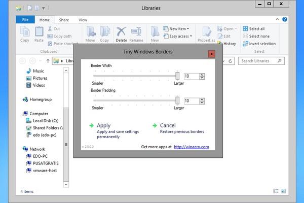 Cara Mengganti Ukuran Window Border di Windows 8