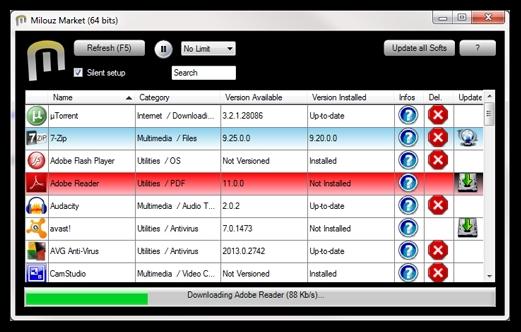 Install atau Update Berbagai Macam Software untuk Windows dengan Milouz Market