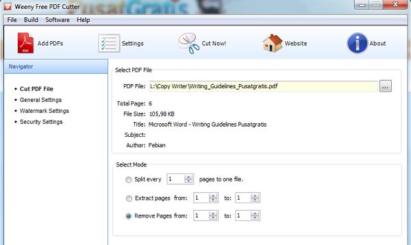 Memotong dan Memberi Password File PDF dengan Weeny Free PDF Cutter_2