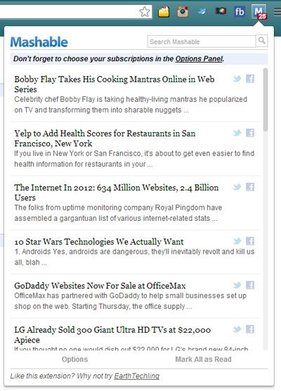 Dapatkan Update Berita Situs Mashable Langsung dari Bar Browser