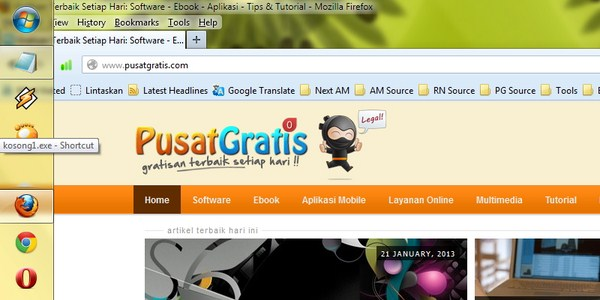 Tips Membersihkan dan Merapikan Icon Taskbar Windows 7
