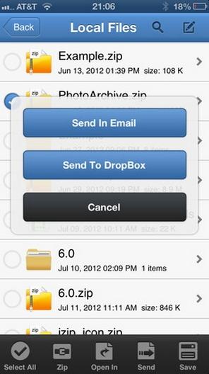 Mudah Mengekstrak dan Mengkompres File zip dalam iPhone dengan iZip