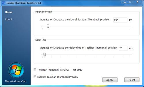 Modifikasi Tampilan Preview Thumbnail di Taskbar dengan Taskbar Thumbnail Tweaker