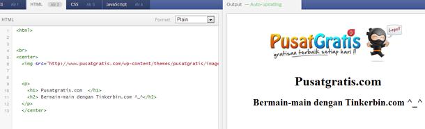 Tinkerbin Tempat Menguji Kode HTML, CSS dan Javascript Secara Online