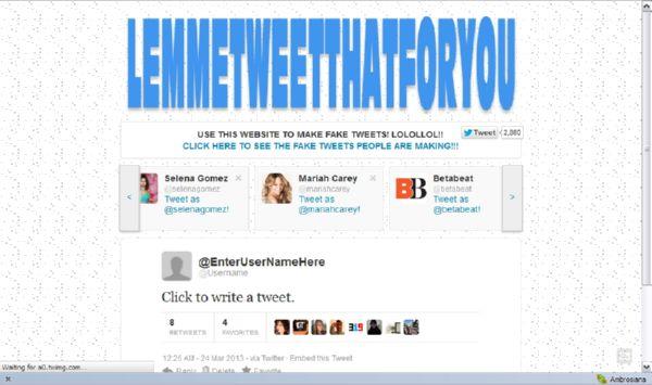 Twit Palsu untuk Keren-Kerenan dari Lemmetweetthatforyou