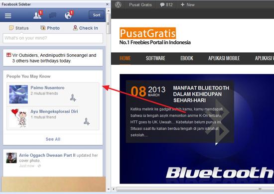 Mengakses Facebook Lebih Cepat dengan Facebook Sidebar