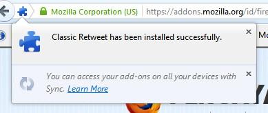 Membalas Tweet Lebih Mudah dengan Classic Retweet untuk Firefox