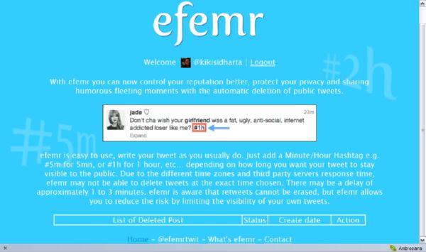 Kirim Twit yang Akan 'Menghilangkan Diri' Secara Otomatis dengan Efemr