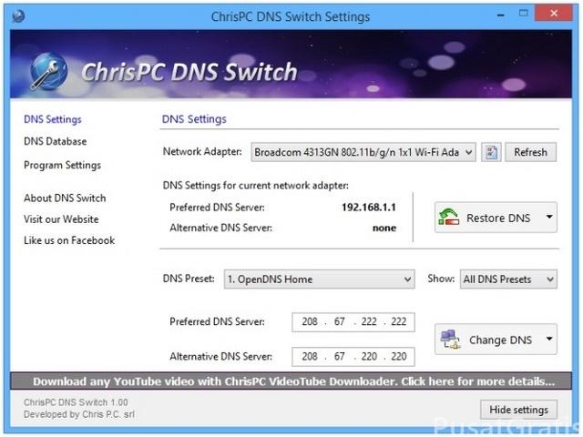 Berganti DNS Dengan Cepat Menggunakan ChrisPC DNS Switch