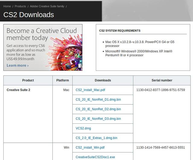 Adobe CS2 Bisa Didownload Secara Gratis di Adobe.com