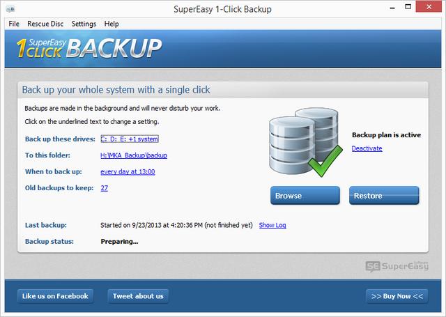Download Gratis SuperEasy 1-Click Backup, Software Backup File